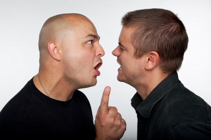Two men arguing leading to an ASBO or Criminal Behaviour Order